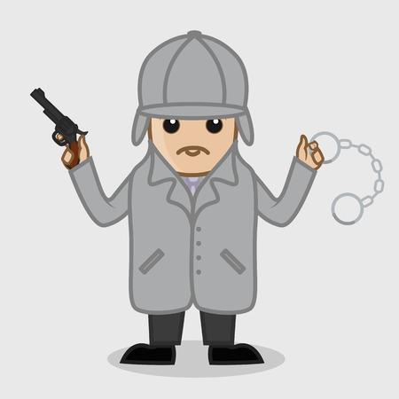 inspector: Inspector Holding a Gun and Handcuff Illustration