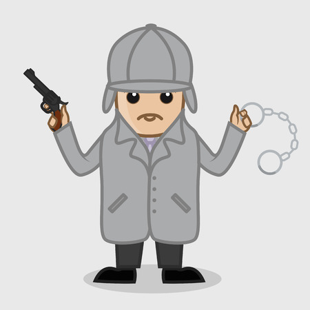 Inspector Holding a Gun and Handcuff Illustration