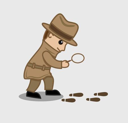 Detective Agent Following Footprints Illustration