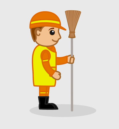 wiping: A Sweeper Holding a Broom Vector Illustration