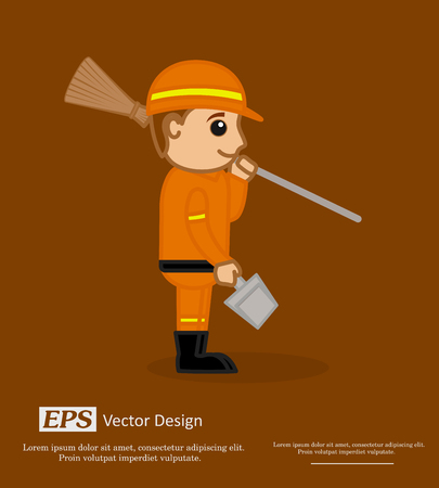 sweeper: Happy Sweeper Character with Broom and Dustpan