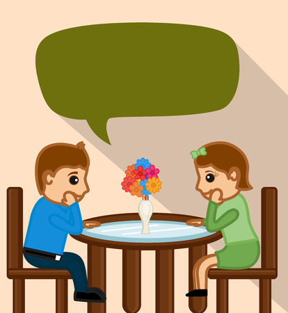 dating: Cartoon Couple Dating in Valentine Occasion Illustration