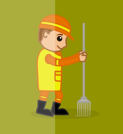 villager: A Cartoon Worker Holding a Rake Tool