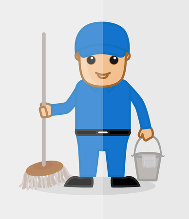 A Male Sweeper Character Illustration