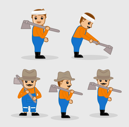 digging: Cartoon Labors Digging with Hoe Vector Set
