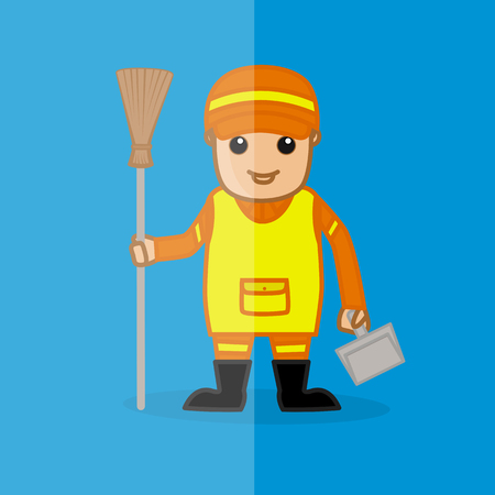 sweeper: Cartoon Sweeper with Dustpan and Broom