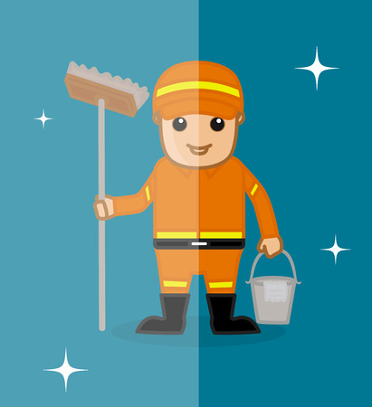 sweeper: Happy Sweeper Character with Cleaning Objects Illustration