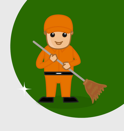 sweeper: A Sweeper Holding a Broom