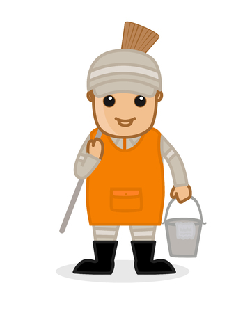 wiping: Sweeper with Broom and Water Bucket