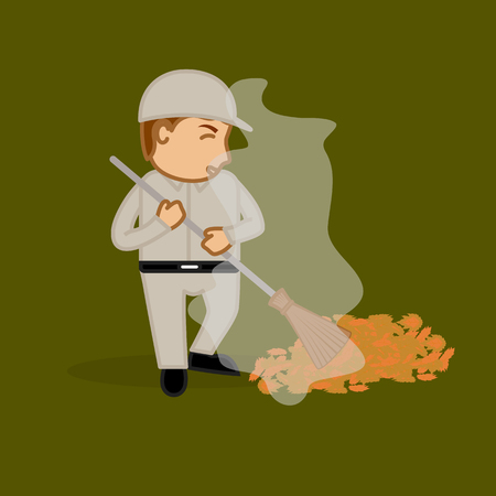 sweeping: A Sweeper Face Expression During Sweeping Illustration