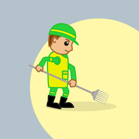 villager: A Worker Cleaning with Rake Tool