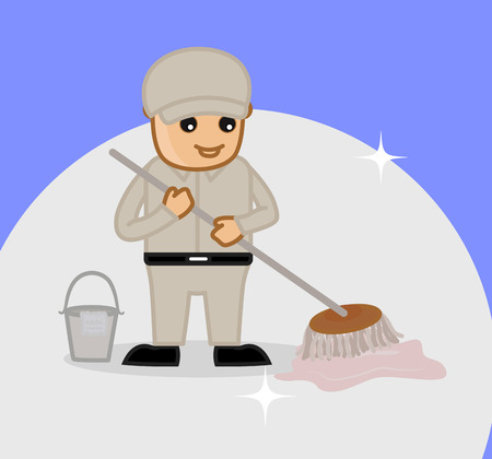 housekeeper: A Housekeeper Cleaning Floor with Wiper Illustration