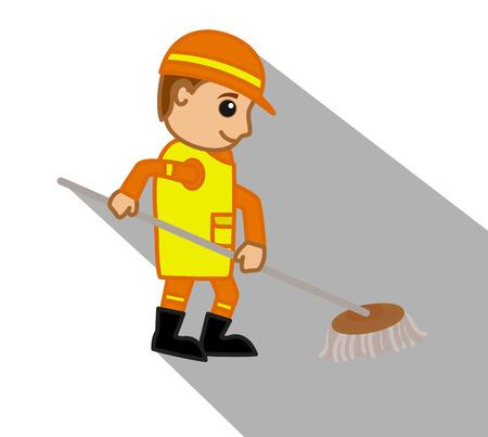wiping: Cartoon Sweeper Cleaning Floor