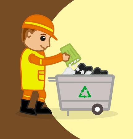 papelera de reciclaje: Un trabajador tirando el polvo en la papelera de reciclaje Vectores