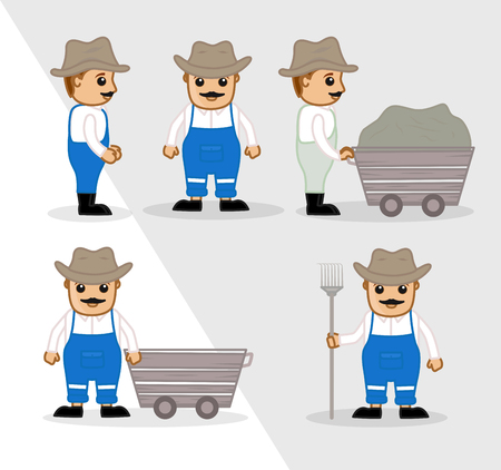 Cartoon Workers with Various Action and Works Illustration