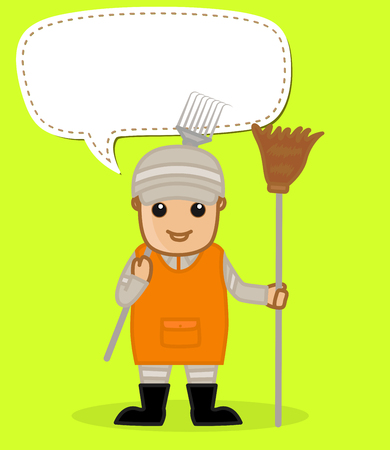 sweeper: A Sweeper with Broom and Pitchfork
