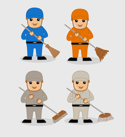 broomsticks: Cartoon Sweepers with Broomsticks and Wipers Illustration