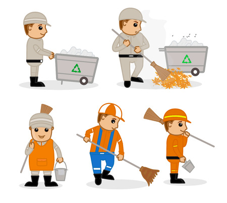 sweeper: A Cartoon Sweeper at Work Vector Illustrations Illustration