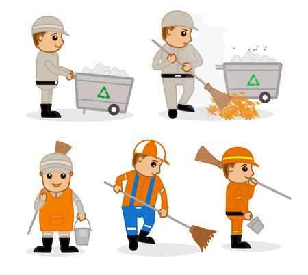 A Cartoon Sweeper at Work Vector Illustrations Illustration