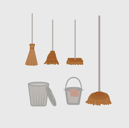 objects: Sweeping and Cleaning Objects Vectors Illustration