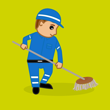 Housekeeper Cleaning with Wiper Illustration