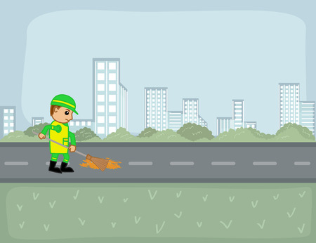 sweeper: A Street Sweeper Cleaning Road