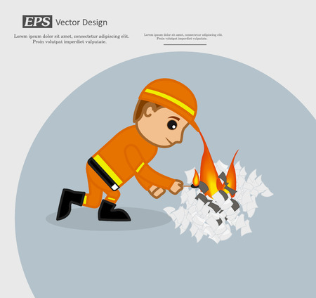A Boy Burning Paper Pieces Illustration