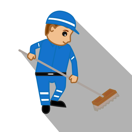sweeper: Young Sweeper Character Cleaning Floor