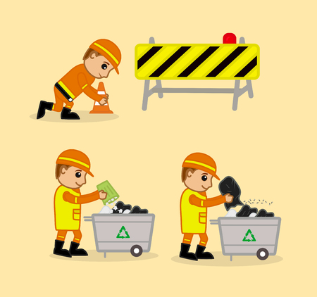 traffic pole: Cartoon Labors Working Illustrations