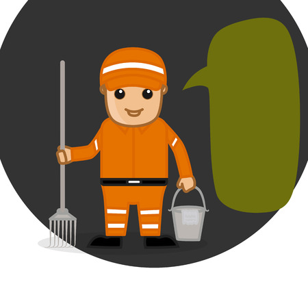 sweeper: A Sweeper Holding a Rake and Water Bucket