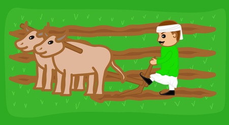rural india: A Farmer Ploughing Field Illustration