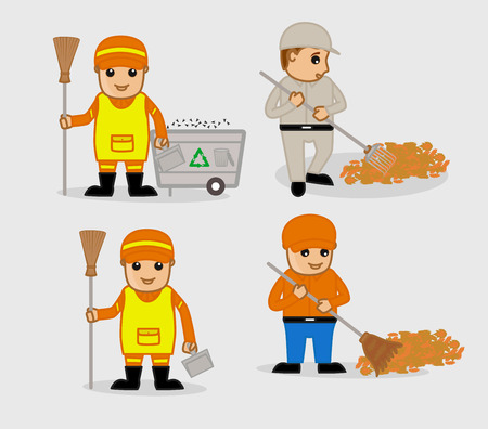 sweeper: A Cartoon Sweeper Characters Vector Set