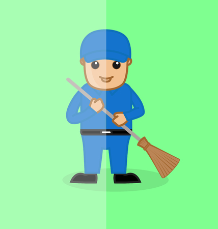 sweeper: A Sweeper Holding a Broomstick