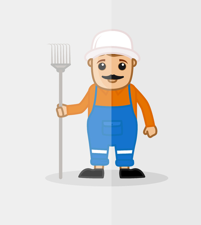 manual worker: A Man with Pitchfork Tool