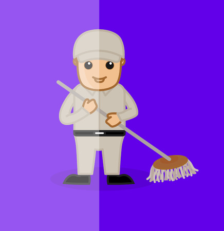 sweeper: Happy Sweeper Holding a Floor Wiper Illustration