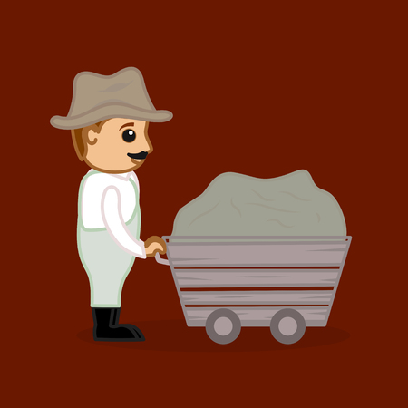 man pushing: A Man Pushing a Garbage Trolley Illustration