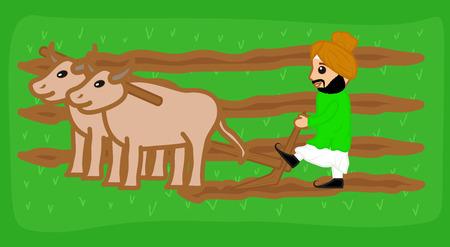 A Farmer Sardar Plowing Field Illustration
