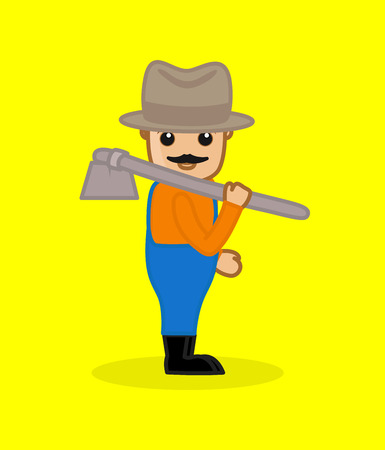 Cowboy Character Holding a Spade