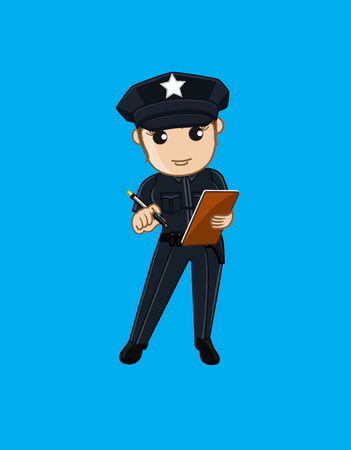 offence: Female Police with Notepad