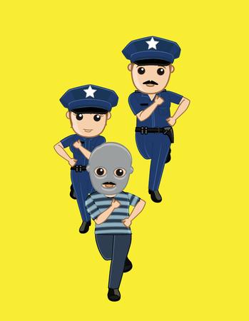 Police Running Behind Robber