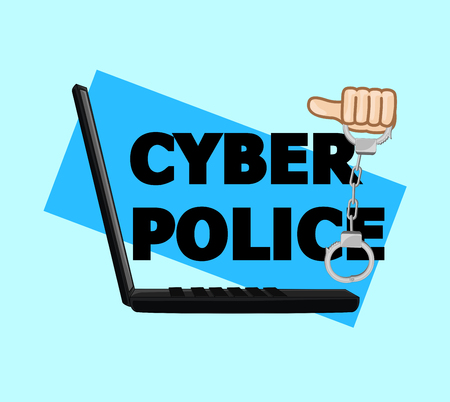 Cyber Police Handcuffs Vector Illustration Illustration