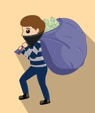 Robber tenant un sac d'argent Banque d'images - 64117615
