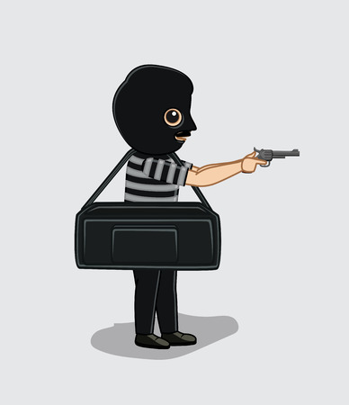 blackmail: Robber with Money Bag and a Gun