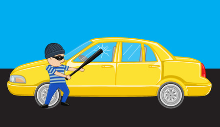 Burglar Breaking a Car Mirror Illustration