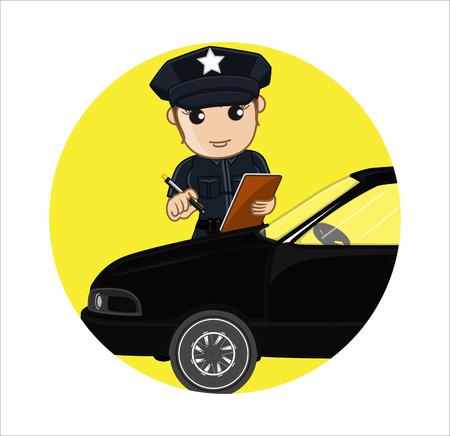 femme policier: Compteur Pucelle Problème Vector Concept