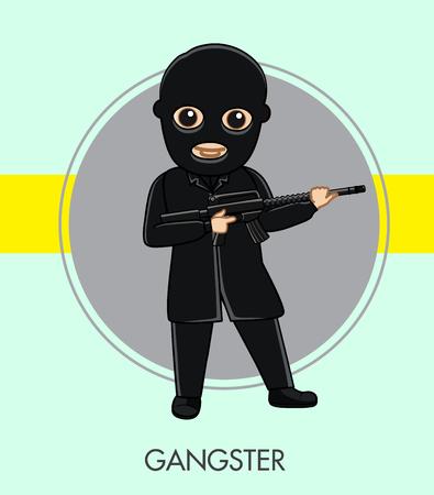 murderer: Robber with Gun in Black Suit