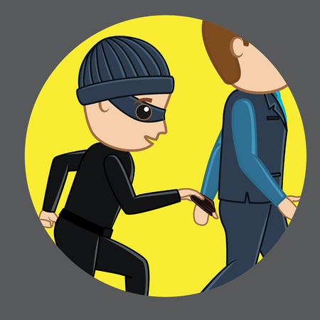 Pickpocket Trying to Steal Wallet Illustration