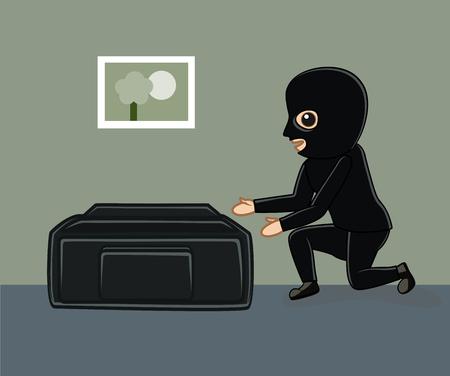 Robber Essayer de choisir Sac d'argent Banque d'images - 64116978