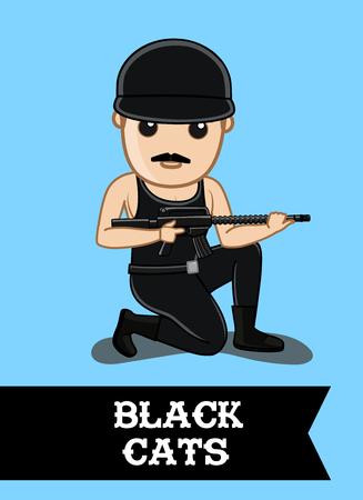 Black Commando Character with Guns Illustration