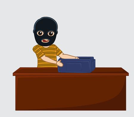 thug: Robber with Money Bag Illustration